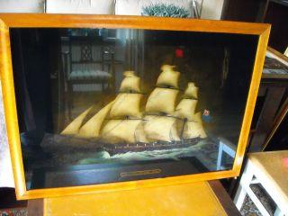 Altes Schiffsbild Hinterglasmalerei Eiberahmen Bild