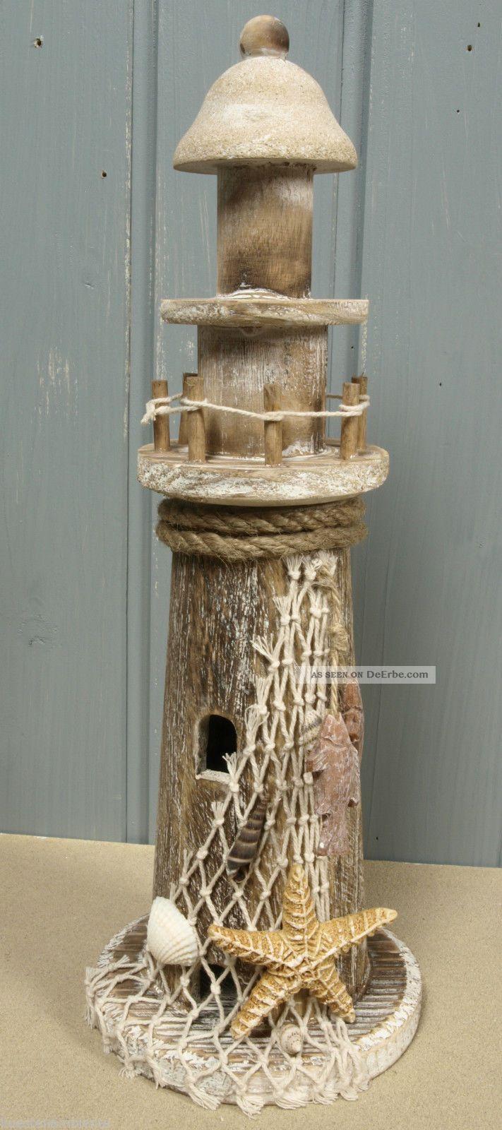 holz leuchtturm im treibholz look mit seestern ca 33 cm f r die maritime deko. Black Bedroom Furniture Sets. Home Design Ideas