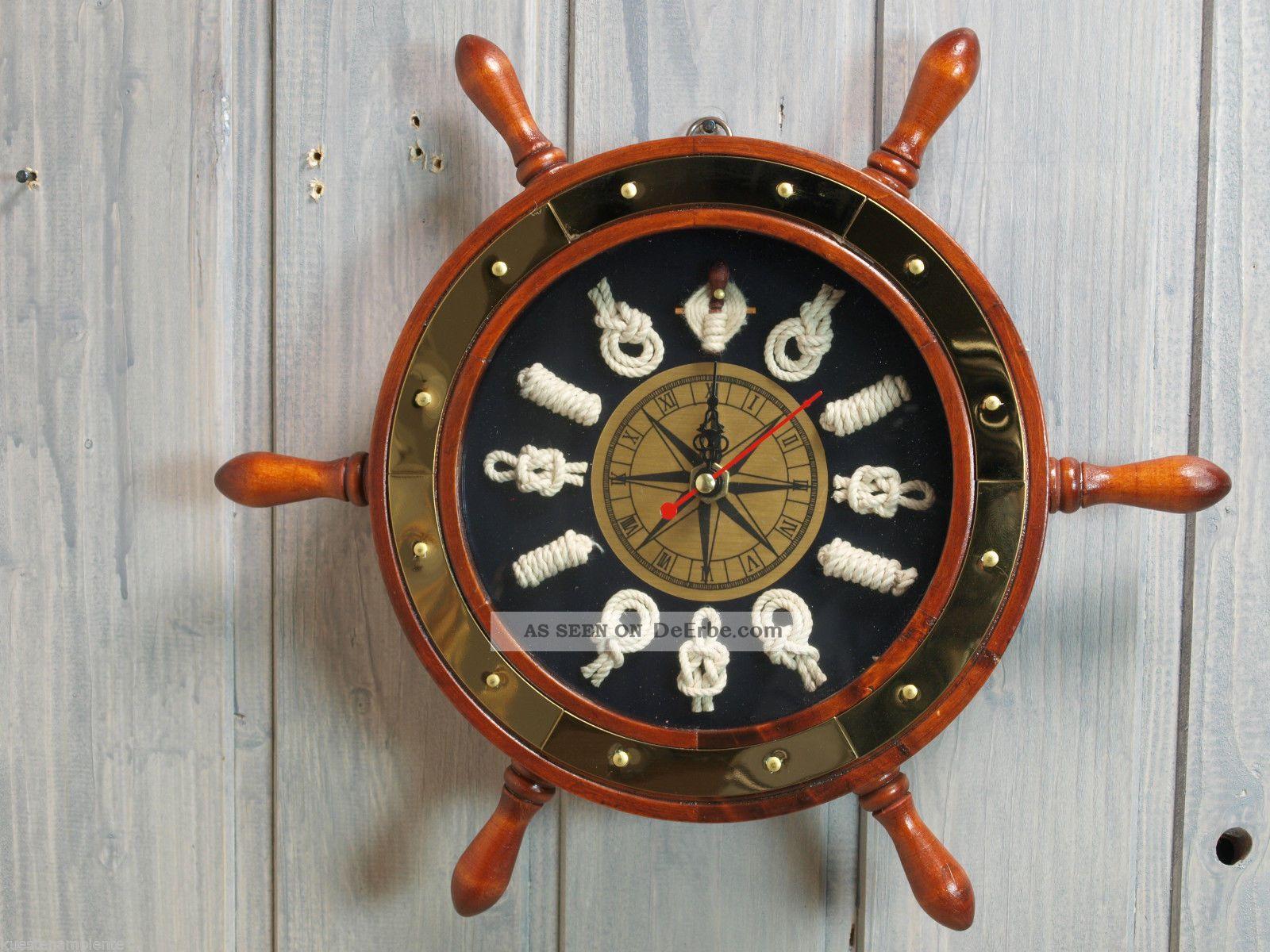 maritime uhr steuerrad aus holz durchmesser 28cm. Black Bedroom Furniture Sets. Home Design Ideas