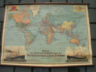 Norddeutscher Lloyd Bremen Plakat,  Weltkarte Um 1915 Dampfschifffahrt Bild