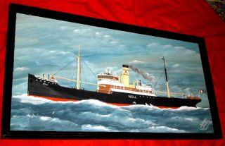 Sehr Schönes Kapitänsbild/schiffsportrait Des Frachtdampfers