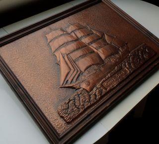 Gorch Fock Segelschiff - Großes Antikes Bild Im Holzrahmen,  Kupfer,  Kupferbild Bild