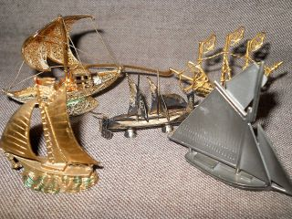 5 Miniatur Schiffe Segelschiffe Silber Punzen C N Ua Denmark Portugal Handarbeit Bild