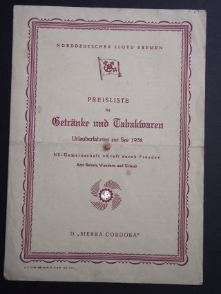 D.  Sierra Cordoba Urlaubsfahrten Zur See 1938 Preisliste Für Getränke Und Tabakwa Bild
