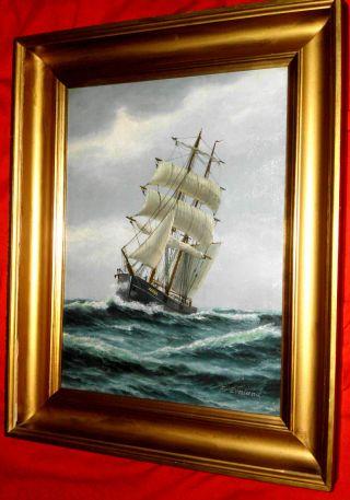 Sehr Schönes Kapitänsbild Der Schonerbrigg