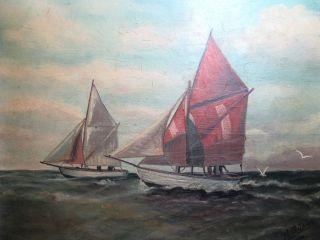 Erbe RaritÄt Ölgemälde Signiert : H.  BÜsing 1934 Schiffe Boote Auf See Bild
