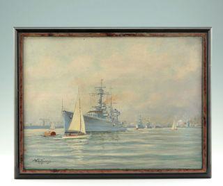 Gemälde Wilhelm Hoffmann Kreuzer Köln Im Kieler Hafen Kriegsmarine Ww Ll Marine Bild