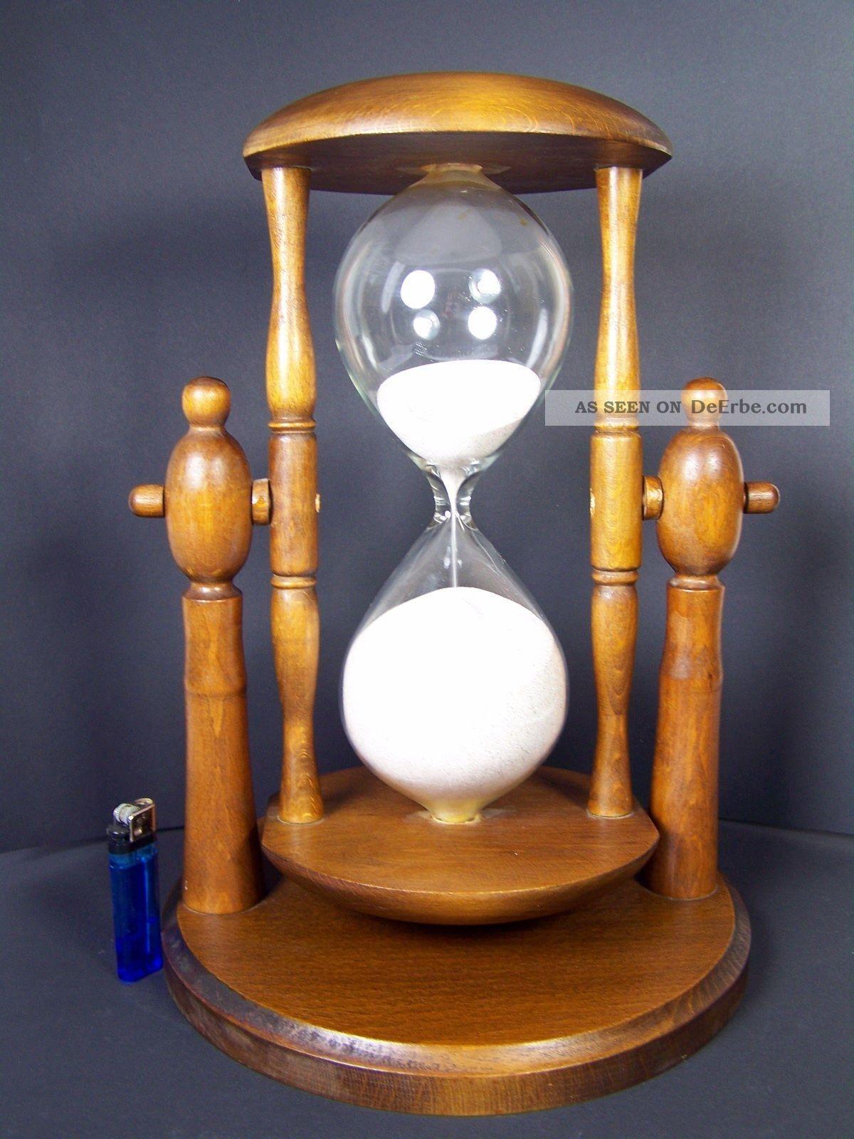 xxl pr chtige riesen sanduhr stundenglas glasenuhr holz 1 stunde laufzeit. Black Bedroom Furniture Sets. Home Design Ideas