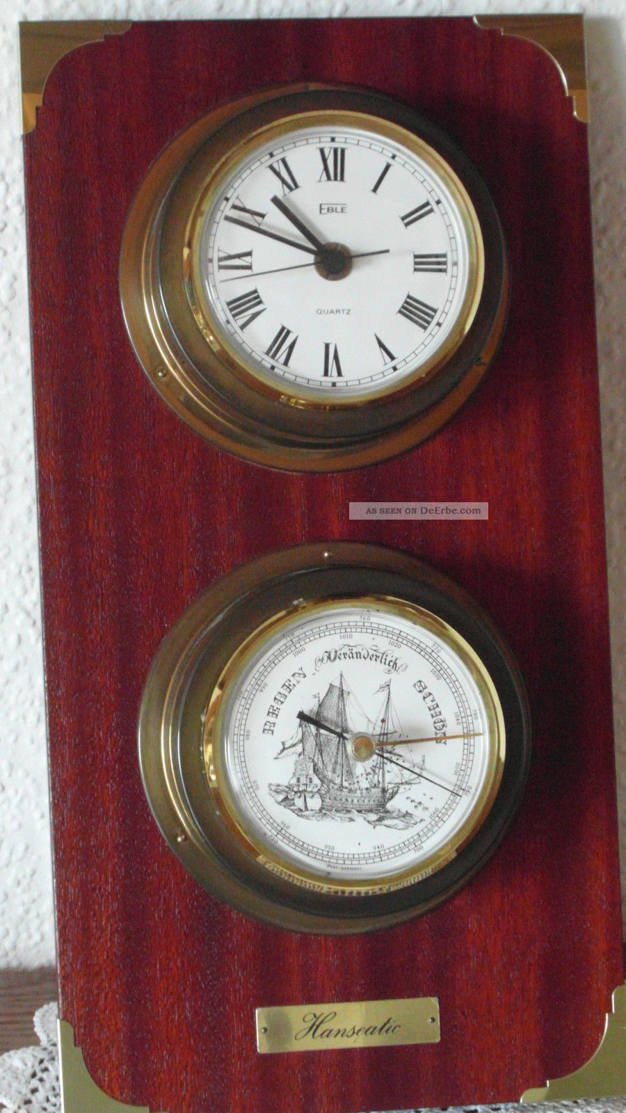 eble hanseatic maritime messing quarz uhr mit barometer auf massivem holzbrett. Black Bedroom Furniture Sets. Home Design Ideas