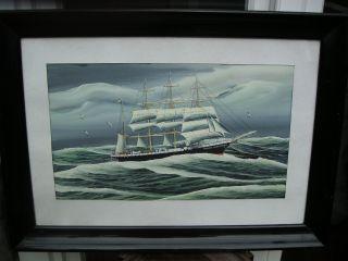 Guache Schiffsportrait,  Admiral Karpfanger - Hapag Schulschiff,  Gesunken 1938. Bild