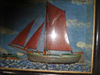 Altes,  Interessantes Segelschiff In Schaurahmen Aus Kapitänshaushalt - Bild