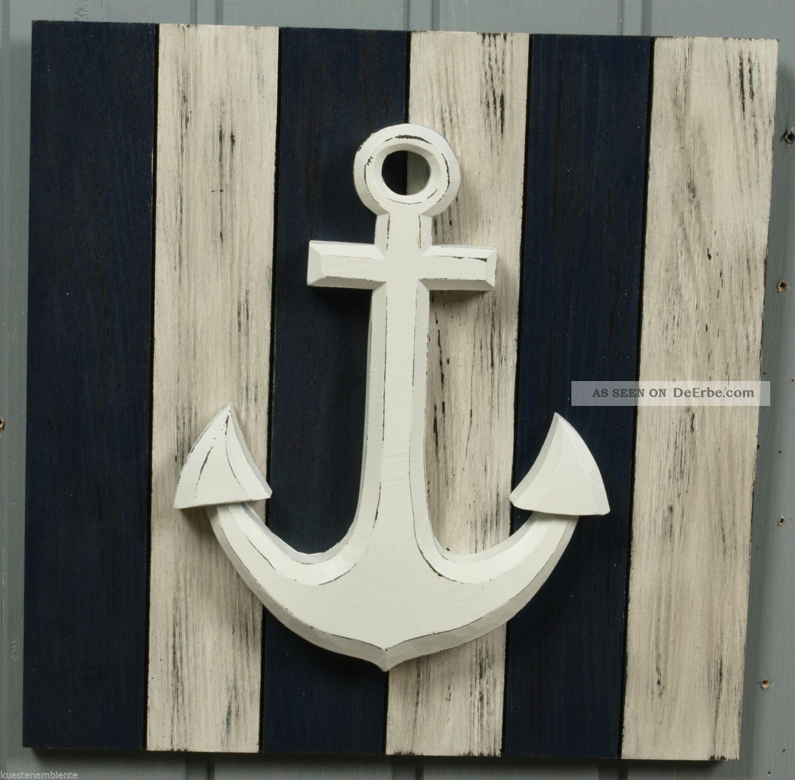 maritimer wandh nger bild wandbild anker aus holz blau wei 30 x 30cm. Black Bedroom Furniture Sets. Home Design Ideas