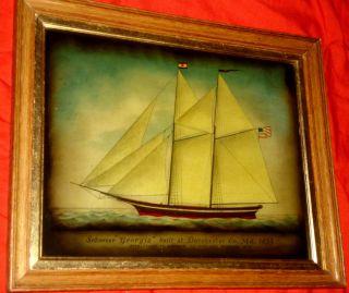 Sehr Schöne,  Seltene Hinterglas - Malerei.  Schiffsportrait Schoner