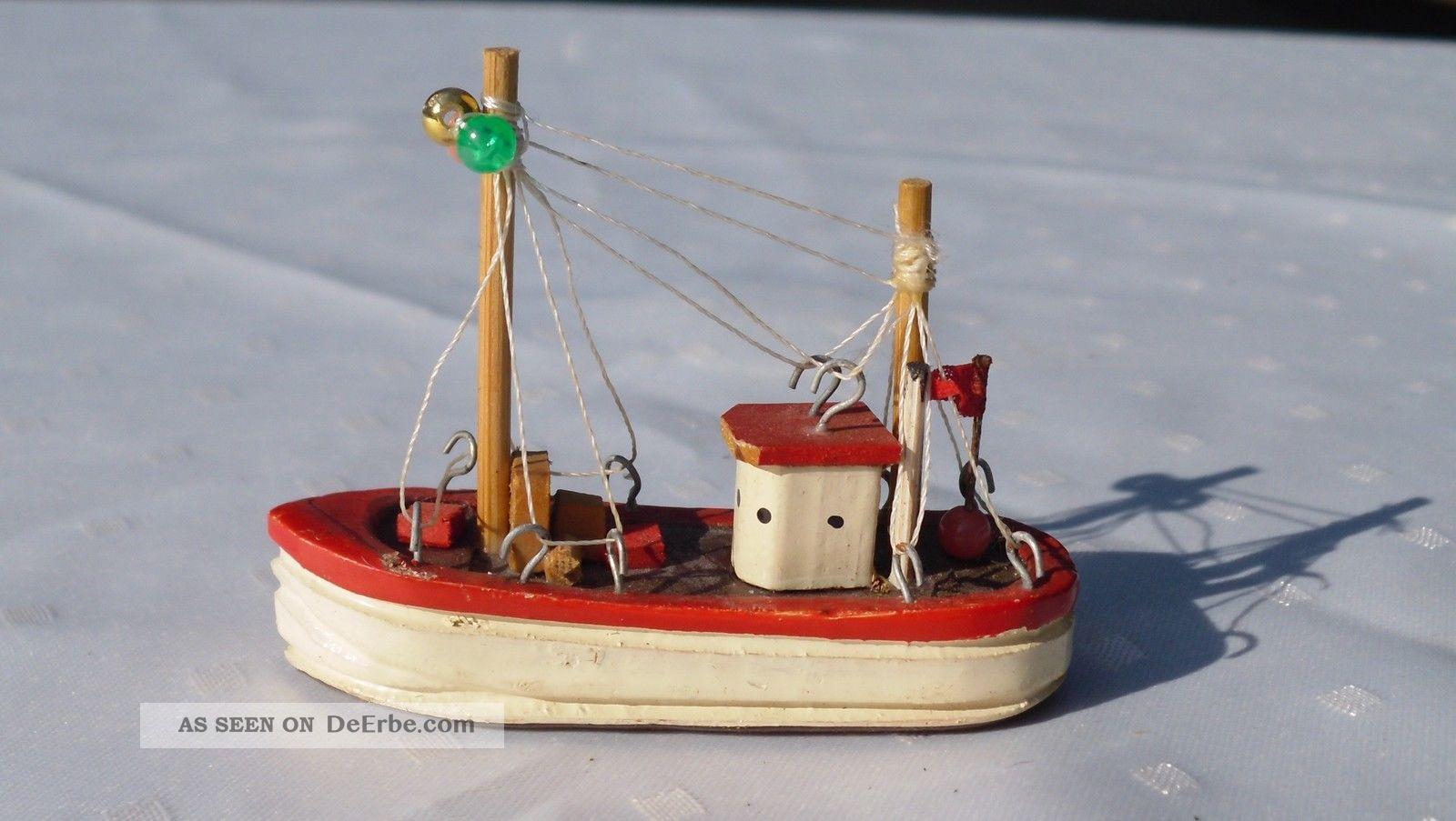 Kleines Fischerboot Holz Handarbeit Boot Kahn Kutter