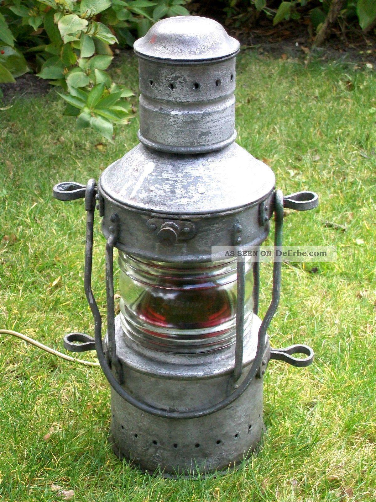 alte schiffslampe positionslampe um 1940 roten glaseinsatz elektr umger stet. Black Bedroom Furniture Sets. Home Design Ideas