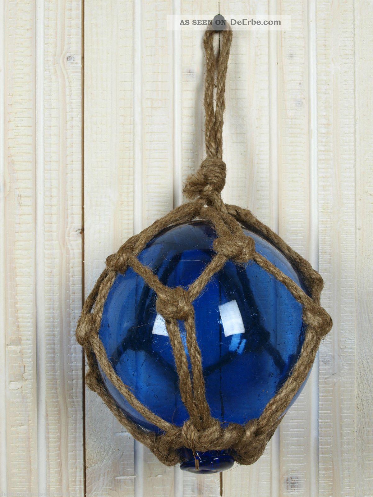 Blaue fischerkugel aus glas 12 5cm maritime fischernetz for Deko fische plastik