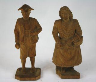 2 Alte Holz Skulpturen Holzfiguren Bauern Dachau Tracht Sig.  Josef Erhart 1900 Bild