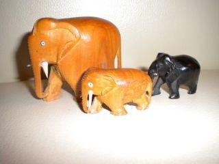 Holzfiguren - Schnitzerei - 3 Elefanten (1x 5cm,  2x 2,  5cm) Bild