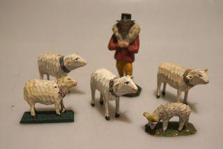 Grulich - Krippenfigur Schäfer Mit 5 Schafe,  Um 1900 Bild