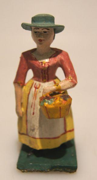Grulich - Krippenfigur Frau Mit Blumenkorb,  Um 1900 Bild