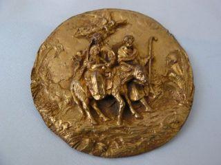 Ein Vergoldetem Kupfer Plakette Mit Darstellung Flucht Nach Ägypten.  17.  Jh Bild