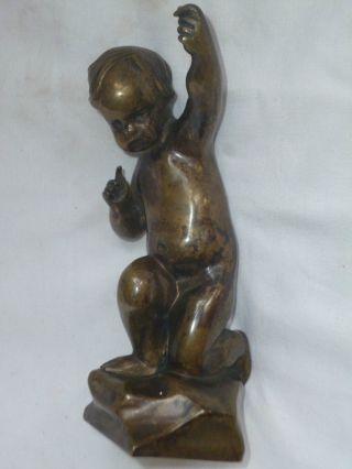 Wunderschöne Art Déco Bronzefigur - Knabe Putte Amor 18 Cm Schöne Patina Bild
