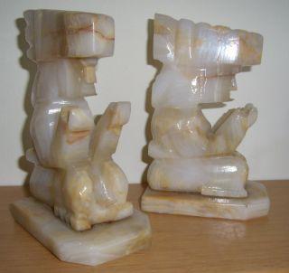 2 Figuren Aus Mexiko - Alabaster - Götzenbild - Inka - Je Ca.  1220 Gr Top Bild