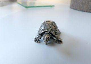 Schildkröte Anhänger Skulptur Sehr Groß Und Schwer 925 Sterling Silber Unikat Bild