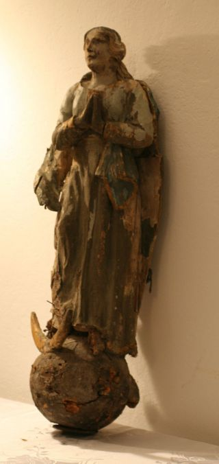 Renaissance Betende Mondsichelmadonna Geschnitzte Madonna Antik Holz Um 1600 Bild