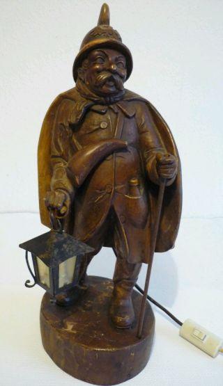 Holzfigur,  Nachtwächter Mit Elektr.  Laterne,  49 Cm Zum Restaurieren Bild