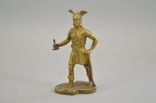 Antike Bronze - Figur,  Skulptur,  Wikinger,  Germane Mit Flügelhelm,  Um 1850 - 70 Bild