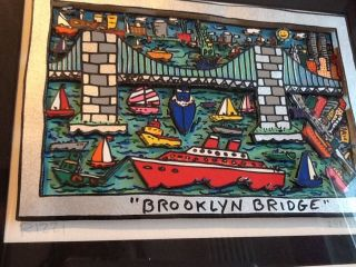 James Rizzi 3d Grafik Brooklyn Bridge,  Liberty Und Twins Anno 1994 - Handsigniert Bild