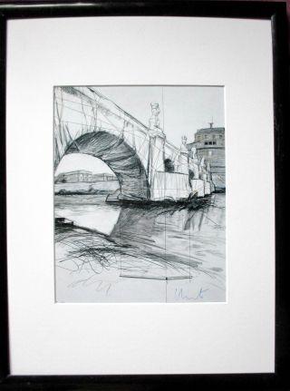 Christo Pont Neuf - Paris Hand - Signiert,  26x20cm,  Rahmen,  Orig.  Signed, Bild