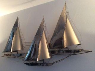 Wandrelief 60/70er Jahre Regatta Segelboote Vintage Bild