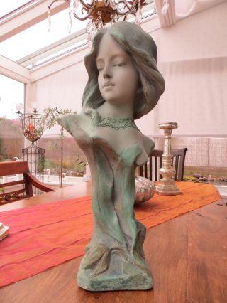 Büste Skulptur Mädchen Jugendstil Um 1910 - 47 Cm Hoch - Sehr Schön Bild