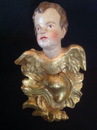 Puttenkopf Geflügelt,  Holz Geschnitzt Von 1760 Bild
