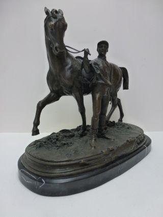 Phantastische Bronze Von Pierre Jules Mêne Vainquer Ehrenpreis Pferd Und Jockey Bild
