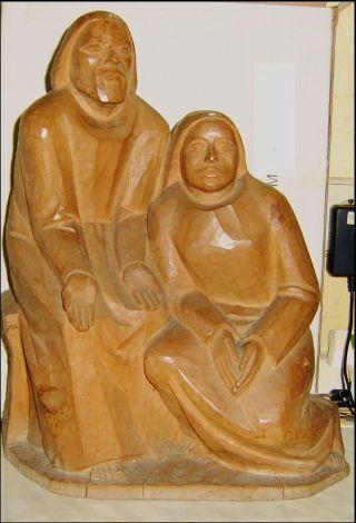 Holzfigur,  Krippenfigur Maria Und Josef Aus Einem Block Geschnitzt 35 Cm Hoch Bild