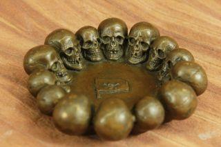 100 Echt Bronze Hand Handwerk Wachs Methode Totenkopf Schädel Ashtray Statue Bild