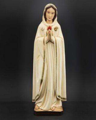 Hl.  Maria Rosa Mystica,  Gesegnet 2.  8.  1986,  Handbemalung Gut Erhalten Bild