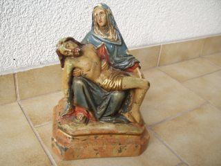 Antike Originale Pieta/kreuzabnahme Stuck - Figur - 19.  Jhd Bild