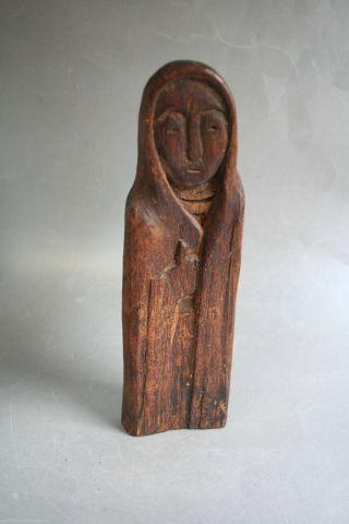 Rarität - Russische Gewandmadonna,  Holz Geschnitzt Monogramm Wandskulptur L:19cm Bild
