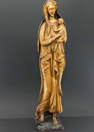 Sehr Große Und Alte Handgeschnitzte Holz - Madonna Mit Jesuskind,  62 Cm Groß Bild