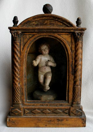Barockes Jesuskind Im Schrein,  Holz,  Geschnitzt,  18.  Jh. Bild