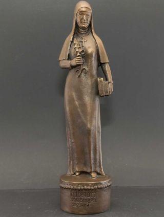 Äbtissin,  Klostergründerin Hildegard Von Bingen Mystikerin.  Bronze - Unikat 7,  6 Kg Bild