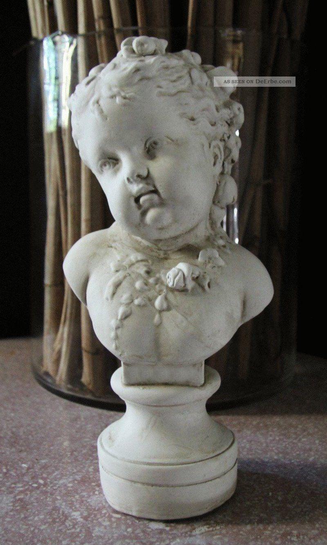 Stuck Gips Büste Mädchenkopf Gips Figur 26cm Mädchen Kinderbüste ...