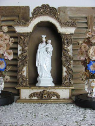 Frankreich Antike Heiligenfigur Maria Jesus French Shabby Weiß Porzellan 1900 Bild