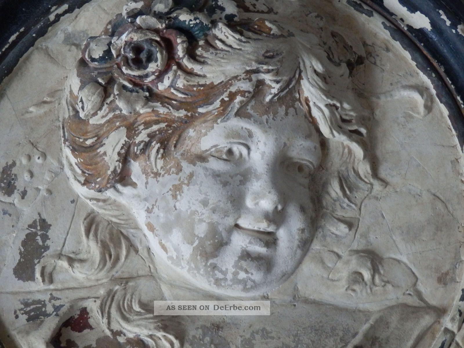 medaillon engel, stuck - gips, antik, sehr charmant