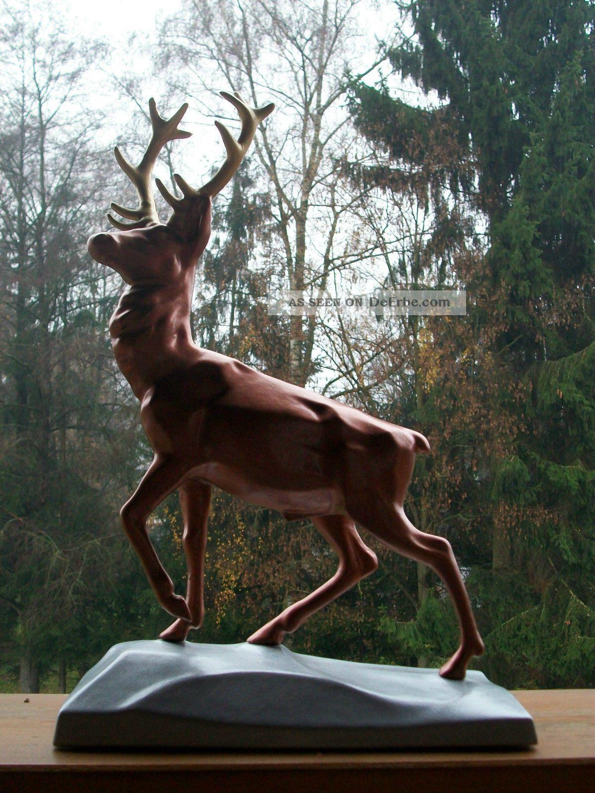 Rothirsch Geweih trabend Bronzefigur Jäger Deko Hirsch Bulle Tier Skulptur