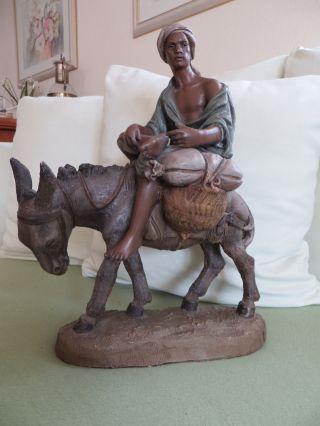 Große Krippenfigur Skulptur Mohr Auf Esel Terrakotta Napoli Kirchenfigur - Raar Bild